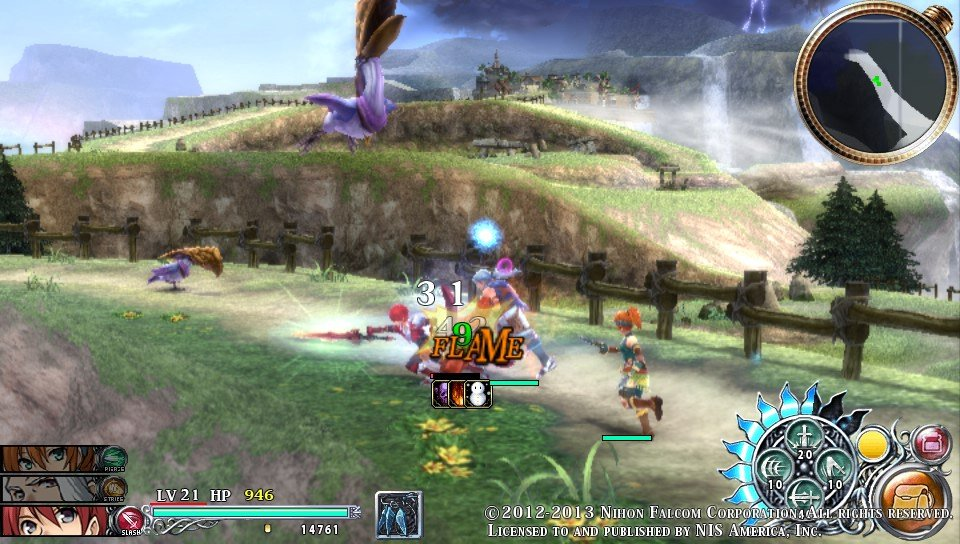 Ys Memories of Celceta - Action packed battles