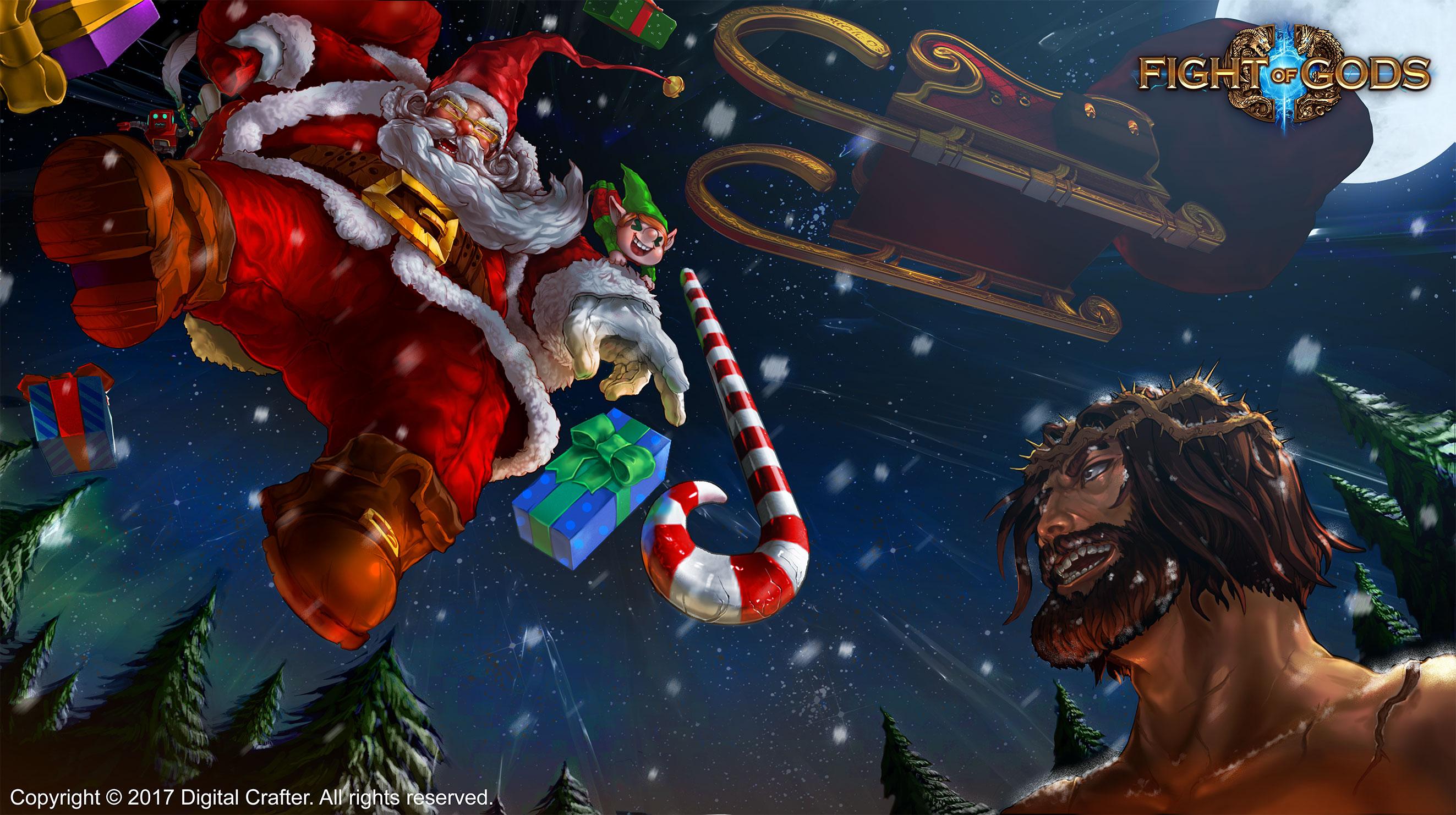 fight of gods roster adds santa santa vs jesus trailer released - Santa And Jesus