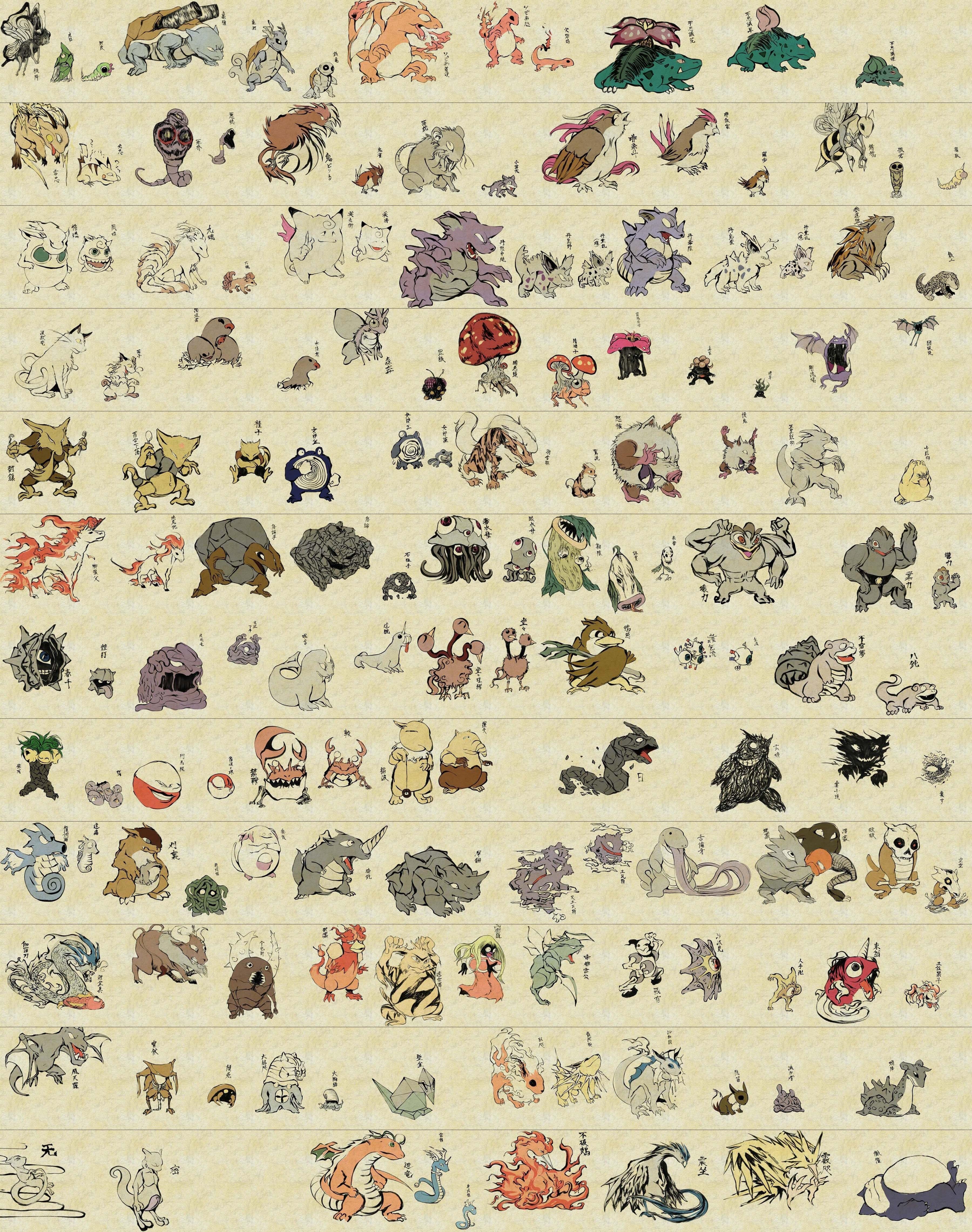 Ukiyo-e Pokemon art is amazing